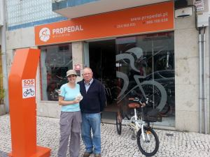 9.  Manuel Rocha and me outside his bicycle shop in Esposende, Portugal