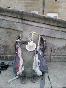 10. My Camino pack with Manuel's gift attached.