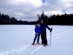 Surprisingly not cold, snow shoeing on Rich Lake.