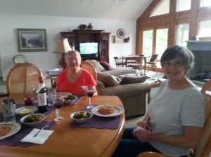 Confession: My favorite parts of my writing retreats are the good food, good wine, and good friends--namely chocolate cake, Writers Block Petit Syrah,  Lois (L), Lynne (R) and Stacey (sadly, not pictured).