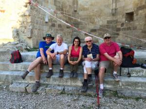 This inspirational 85-year-old man walks 100 km (60 miles) on the Camino each year. Was happy he chose to spend some moments with Lois and I at San Anton.