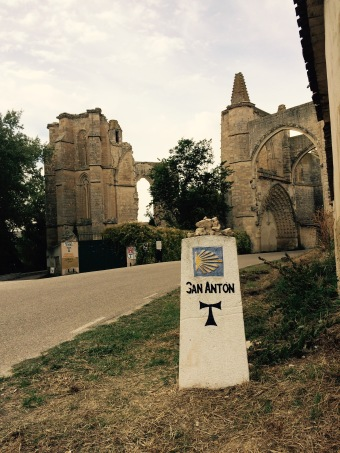 Approaching the ruins an San Antón on the Camino de Santiago.